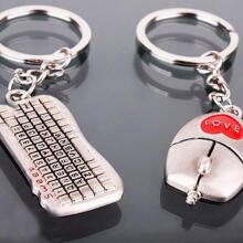 Farfi One Pair Fashion Valentine's Day Lover Gift Keychain Mouse Keyboard Couple Keyrings