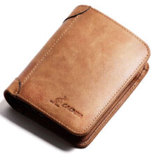 L'ALPINA 661052131 Men's leather Cowhide two fold horizontal section leather card holder wallet multi-function wallet-Brown