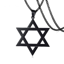 Jantens 2018 New Black Star Of David Pendant Necklace Jewelry For Men Stainless Steel Black
