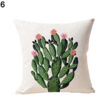 Farfi Succulent Cactus Potted Comfortable Linen Pillowcase Sofa Home Cushion Cover