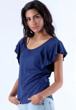 ILARIA Navy Flare Sleeves Tees