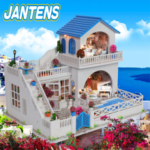 Jantens Doll House Furniture Diy Miniature Dust Cover 3d Wooden Dollhouse Toys For Photo Color