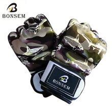 [kingstore]Camouflage MMA Boxing Gloves Soft PU Half Finger Training Gloves for Adult Camouflage Camouflage