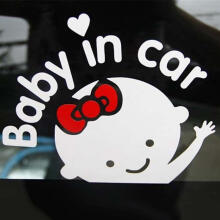 Farfi 3D Cartoon Car Stickers Baby in Car Letters Warming Sign Rear Windshield Decal