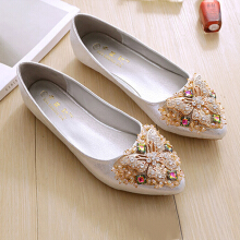 Plus Size Elegant Dance Soft Trendy Flat Loafers For Women Gold 42
