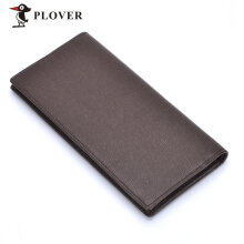 [LESHP]PLOVER GD5923-8B Men Luxury Business Long Wallet Cow Leather Multi-Cards Slot Brown