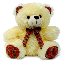 Boneka Teddy Bear Plaid Style Cream