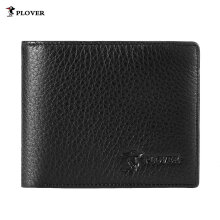[LESHP]PLOVER GD5919-6A Men Cow Leather Short Wallet Card Holder Coin Money Purse Black