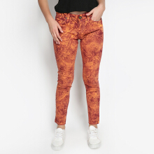 Mobile Power Ladies Slim Fit Jeans Motif - Orange Red C2858S
