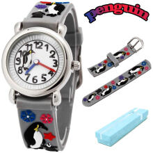 Keymao Penguin Waterproof 3D Cute Cartoon Silicone Wristwatches Gift for Little Girls Boy Kids Children Grey