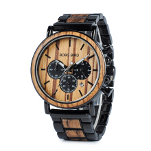 PEKY Wooden watch men erkek kol saati luxury fashion wooden watch chronograph military quartz watch Black