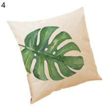 Farfi Plant Leaves Pattern Linen Throw Pillow Car Sofa Room Cushion Cover Case