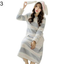 Farfi Winter Thick Flannel Striped Rabbit Ears Hooded Women Nightgown Sleepwear Dress