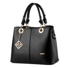 [LESHP]Simple Design Women Handbag Portable Shoulder Bag Solid Color PU Black