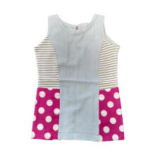 Tiny Button Garis Polka Dress Anak - Biru Merah 1-2 tahun Others 1 Year
