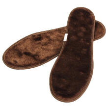 Zanzea 00511 pair Increased Winter Thick Plush Warm Insoles Hand-cut Shock Breathable Comfortable Sweat Absorption Shoe Inserts For Unisex Brown