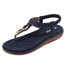 Jantens new women Bohemia Flat sandals shoes woman String Bead flip flop Metal Decoration beach sandals casual shoes