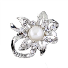 Jantens 2018 High Quality Vintage Style Silver Plated Clear Crystals Imitation Pearl Brooch Pin for Wedding Silver