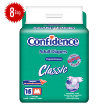 CONFIDENCE Adult Diapers Classic [M] Carton 15's x 8 bag