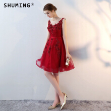 SHUMING- Dress Wedding dress Evening Dresses Red XS