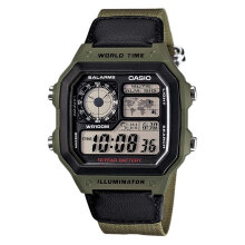 Casio AE-1200WHB-3BVDF Water Resistant 100M Fabric Band [AE-1200WHB-3BVDF] - Green