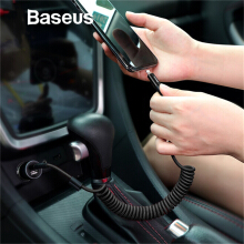 Baseus Flexible Spring USB Cable 2A Fast Charging For iPhone X 8 7 Plus Retractable Kabel Data Handphone Charger Cable in Car