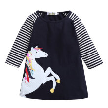 Girl Dress Cartoon Printed Long Sleeve Children's Skirt For 2-8 Years Old 140cm
