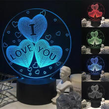 Farfi 3D Illusion I LOVE YOU Heart Bedside Lamp LED Night Light Table Decor as the pictures