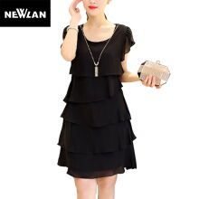 Newlan 2018 summer chiffon dress large size 5XL elegant female