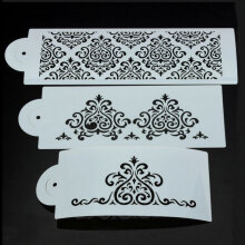 [COZIME] Filigree Damask Flower Cake Stencil Carved Sugar Craft Fondant Printing Mold White