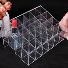 Farfi Clear Acrylic 24 Lipstick Holder Display Stand Cosmetic Organizer Makeup Case as the pictures