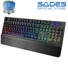 Sades Spearwolf Plunger Handrest Gaming Keyboard-Hitam