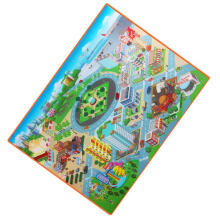 Baby Carpet Kids Route Map City Town Crawling Pad 120CM Waterproof Foldable Climbing Mat Green