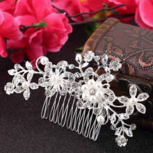 [COZIME] Floral Wedding Tiara Bridal Hair Combs Hairpin Jewelry Hair Accessories Silver1