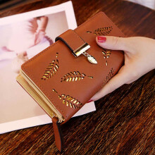 Jantens Samplaner Brand Leaves Hollow Women Wallet Soft PU Leather Women's Clutch Wallet Female Designer Ladies Wallets