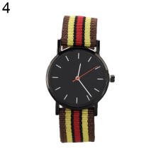 Farfi Unisex Geneva Striped Knitted Nylon Band Analog Quartz Wrist Watch