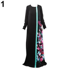 Farfi Women Long Sleeve Maxi Dress Arab Middle East Muslim Garment Abaya Floral Dress