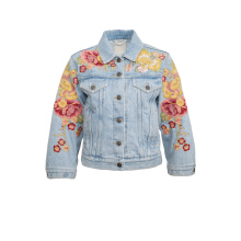 Pre-Owned Gucci Embroidered Floral Denim Jacket  Outerwear