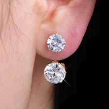 Farfi Women Fashion Drop Ear Studs Jewelry Double Rhinestone Ear Jacket Earrings Gift
