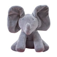 [kingstore] Elephant Stuffed Toy Electric Music Elephant Hide And Seek Toy Baby Toy Grey