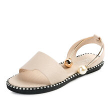 Jantens New Pattern women Sandals casual Woman Summer Student Rome Fashion Flats Concise Pearl Foot Ring Toe Shoes women