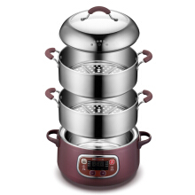 Bear (Bear) electric steamer stainless steel three microcomputer booking timing multi-function electric hot pot DZG-A80A1 8L