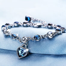 SESIBI Charm Bracelet Blue Crystal Heart Pendant Glass Beads Friendship Bracelet Hand Chain One Size - Blue