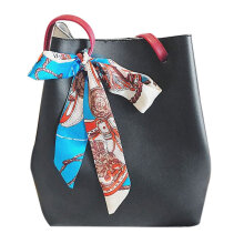 [LESHP]PU Leather Hand Bag Single Shoulder Bucket with Silk Scarf For Women Black