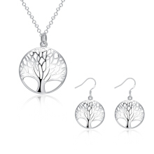 SESIBI Women Tree Pendant Necklace 925 Silver Tree Of Life Pendant Earrings Christmas Gifts Set - Silver