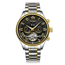 KINYUED Fashion Hollow Out Mechanical Watch Men Automatic Classic Wrist Black