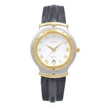 ALBA Jam Tangan Pria - Black Silver Gold - Leather Strap - ATXR10