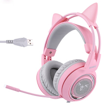 Vinmori G951 Pink Noise Cancelling Lovely Cat Girl PS4 Gaming Headphones LED Headset with SVE Vibration Pink