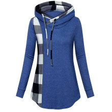 BESSKY Women Long Sleeve Plaid Print Tunics Pullover Hoodie Sweatshirt Blouse Tops_