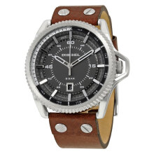 Diesel DZ1716 Rollcage Three Hand Black dial Brown Leather Strap Watch [DZ1716]